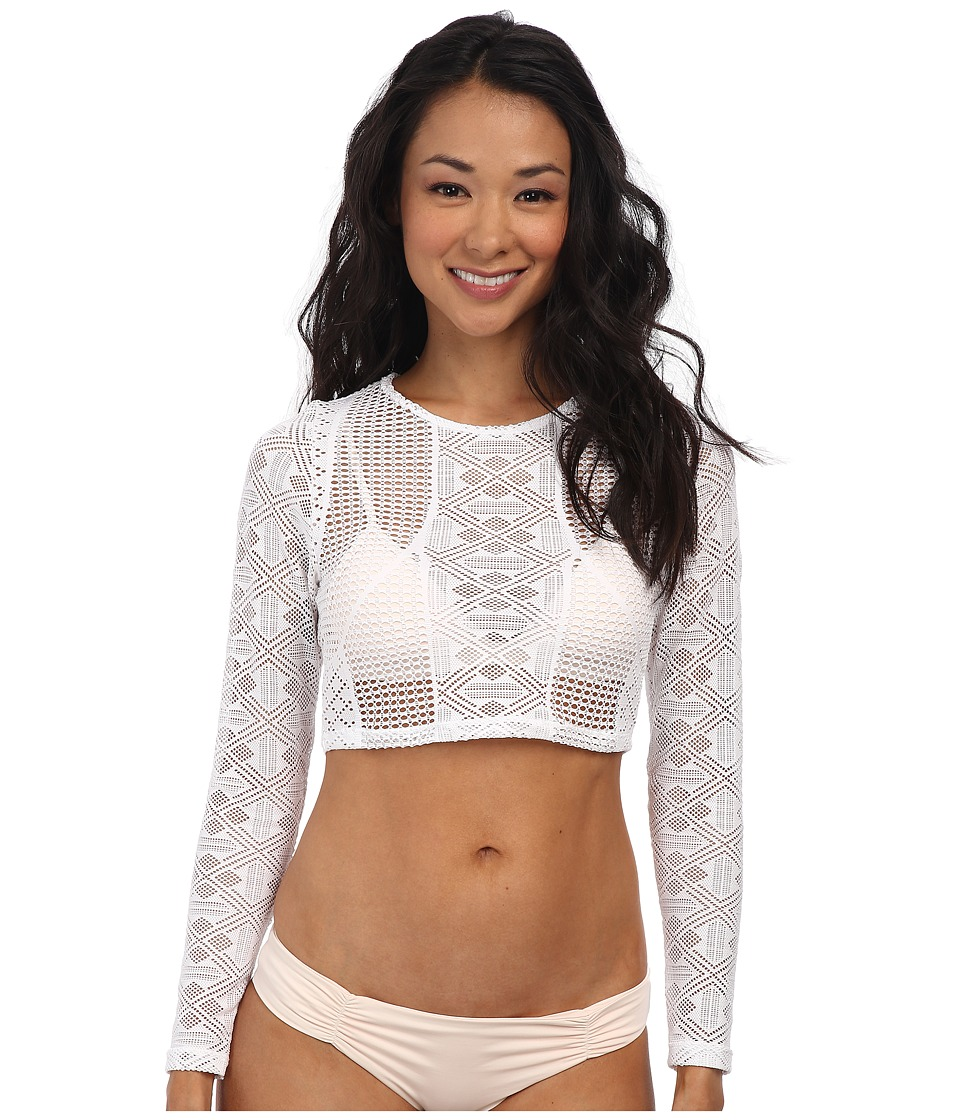 Vitamin A Swimwear - Cannes Cropped Rashguard (Esperanza White Crochet Rashguard) Women's Swimwear