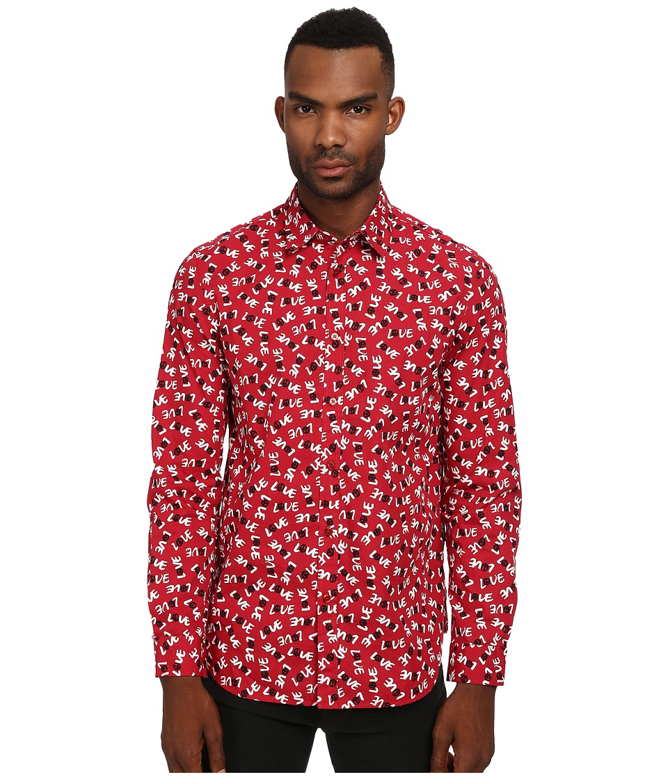 LOVE Moschino - Moschino Print Regular Fit Shirt (Red/Love Print) Men's T Shirt