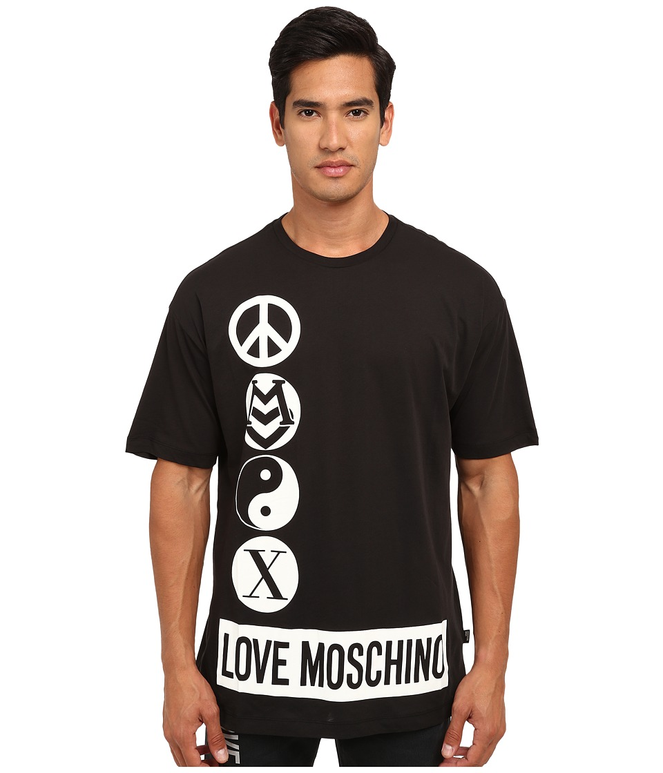 LOVE Moschino - Peace Logo Over Fit Tee (Black) Men's T Shirt