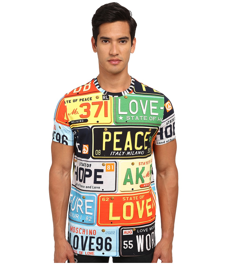 LOVE Moschino - License Plate Regular Fit Tee (Print Plates) Men