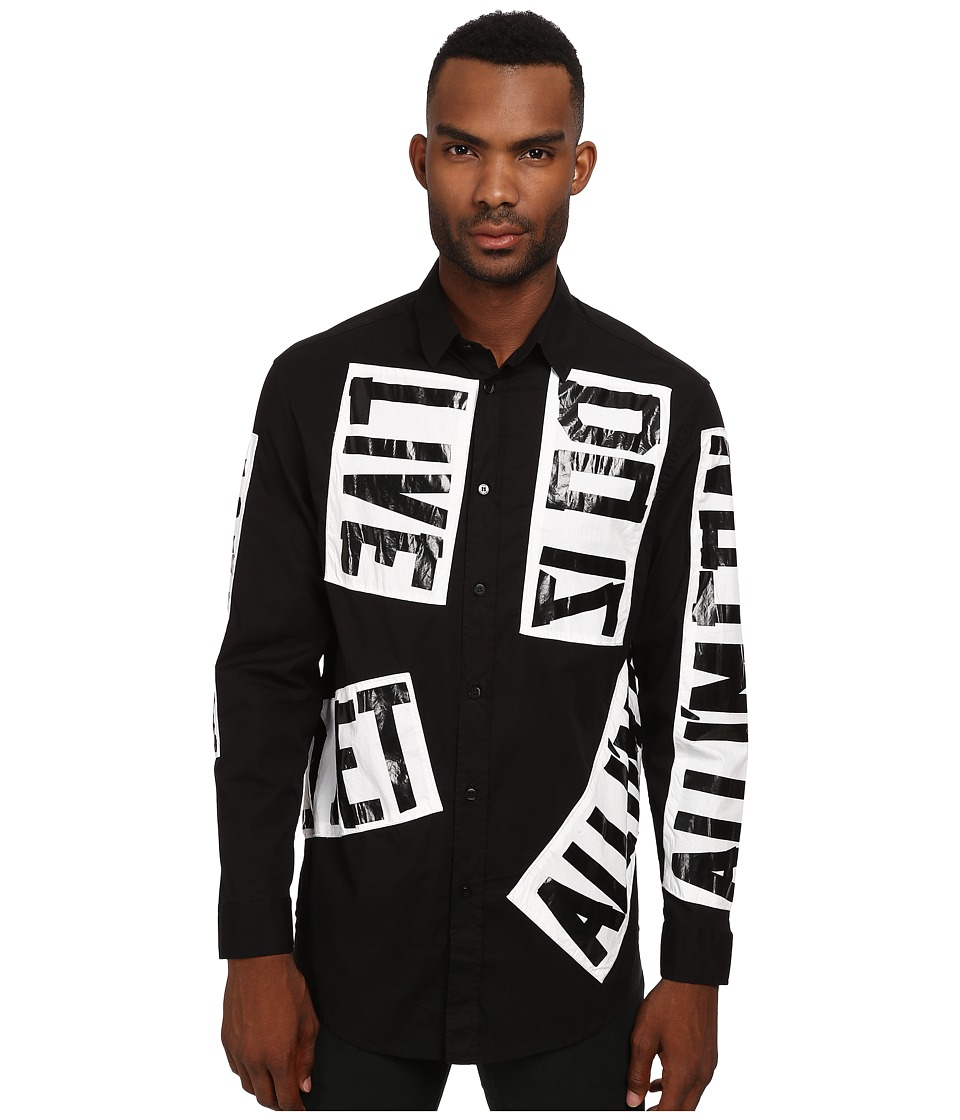 LOVE Moschino - Just Go On Over Fit Shirt (Black) Men