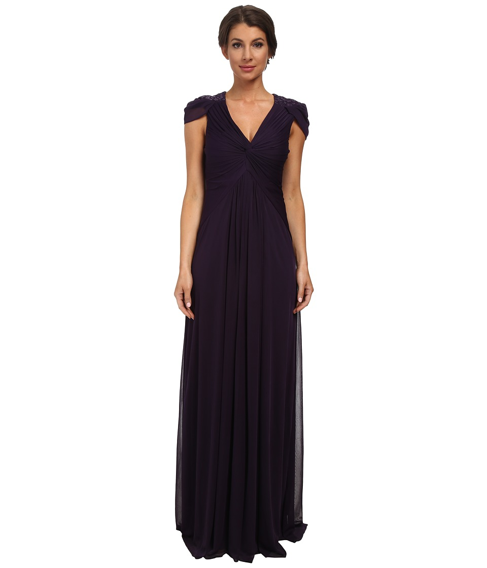 Adrianna Papell Cap Sleeve Stretch Tulle Gown (Aubergine) Women