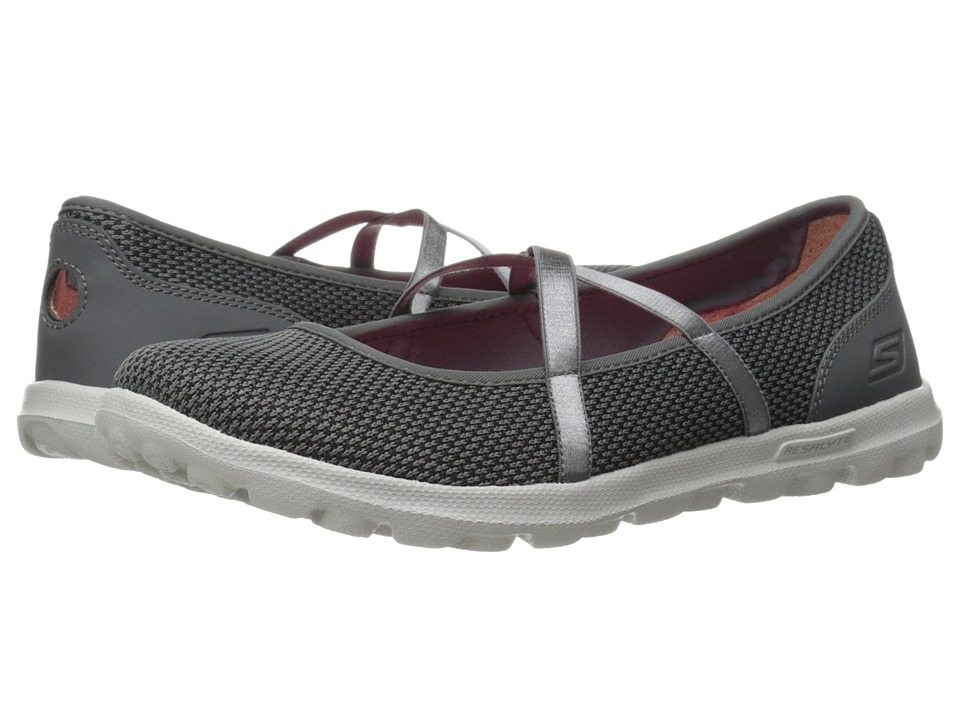 SKECHERS Performance - On The Go - Point (Charcoal/Black) Women's Flat Shoes