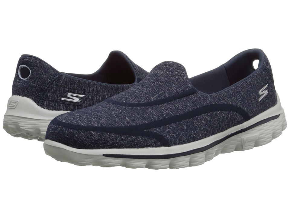 SKECHERS Performance - Go Walk 2 - Super Sock 2 (Navy/Gray) Women