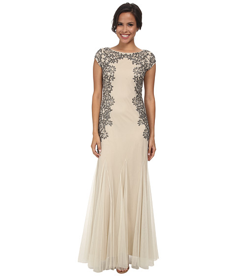 Adrianna Papell - Cap Sleeve Beaded Gown (Champagne) Women's Dress
