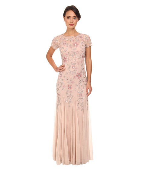 Adrianna Papell - Floral Beaded Godet Gown (Blush) Women's Dress