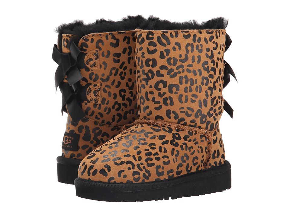 UGG Kids - Bailey Bow Leopard (Toddler/Little Kid) (Chestnut) Girls Shoes
