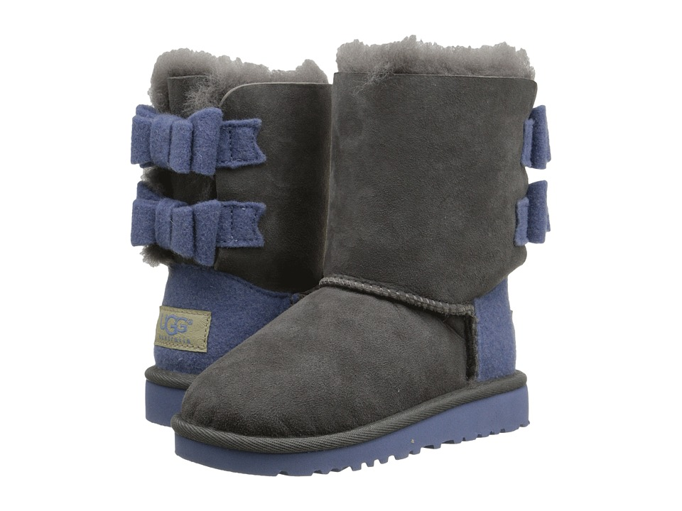 UGG Kids - Bailey Bow Wool (Toddler/Little Kid) (Grey) Girls Shoes
