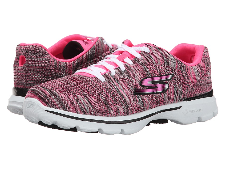 SKECHERS Performance - Go Walk 3 - Contest (Pink/Black) Women's Shoes