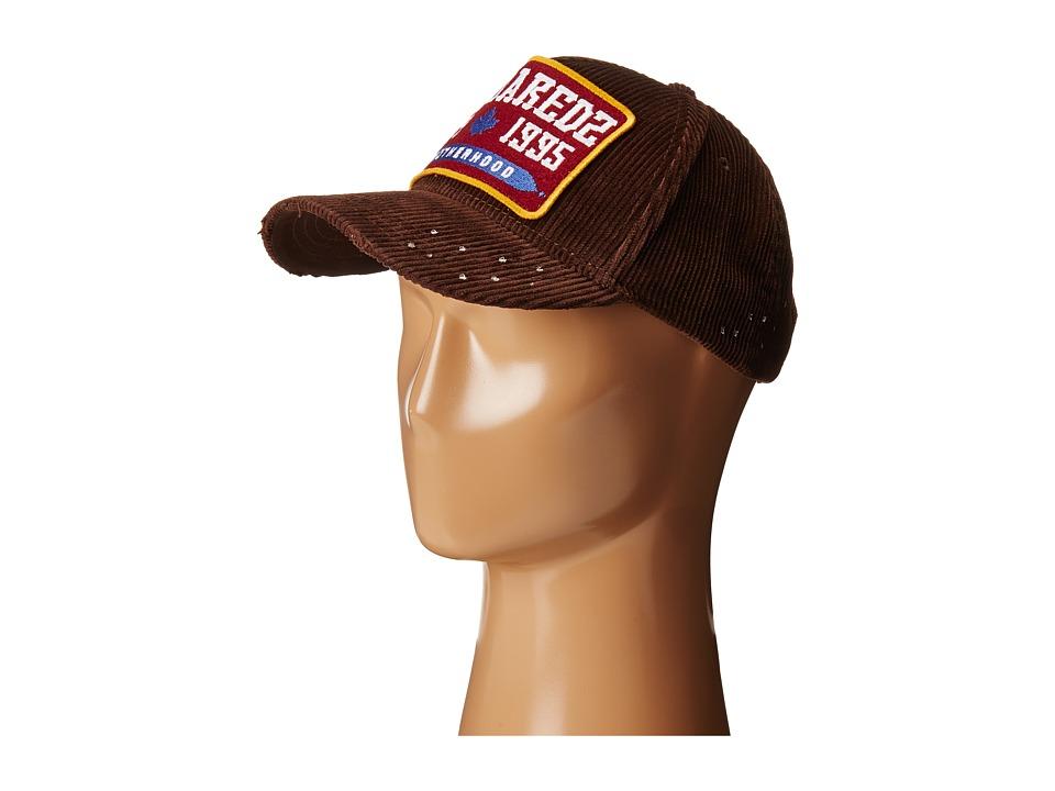 DSQUARED2 - Corduroy Baseball Cap (Maroon) Baseball Caps
