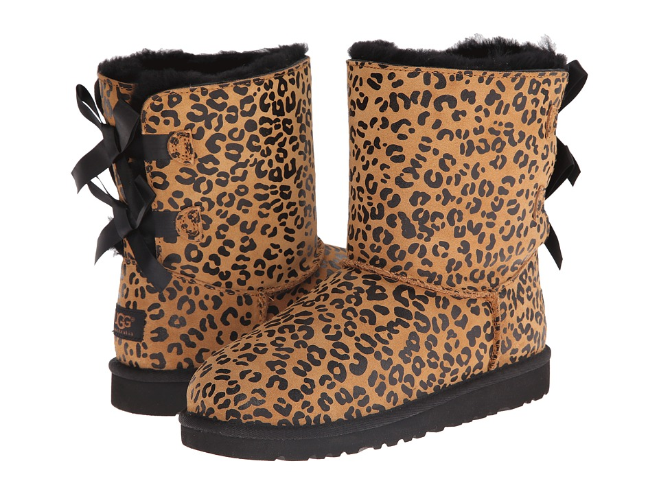 UGG Kids - Bailey Bow Leopard (Big Kid) (Chestnut) Girls Shoes