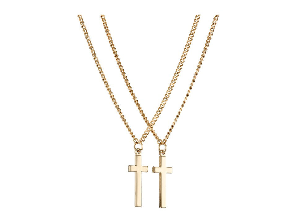 DSQUARED2 - Double Cross Necklace (Brass/Gold/Clear) Necklace