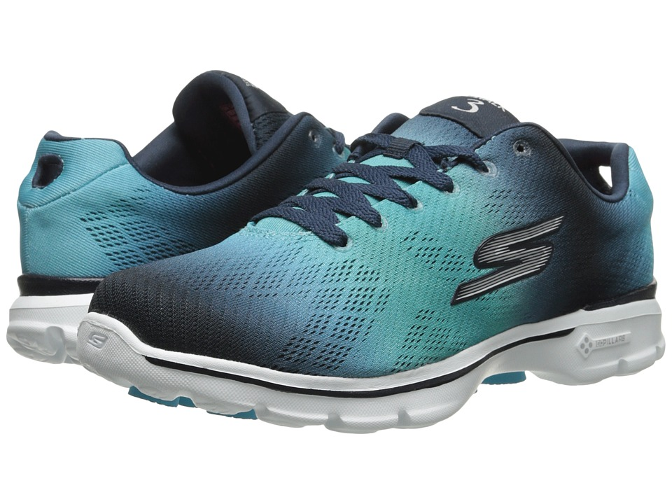SKECHERS Performance - Go Walk 3 - Pulse (Navy/Aqua) Women's Shoes