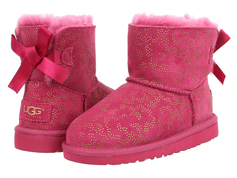 UGG Kids - Mini Bailey Bow Metallic Conifer (Little Kid/Big Kid) (Red Violet) Girls Shoes