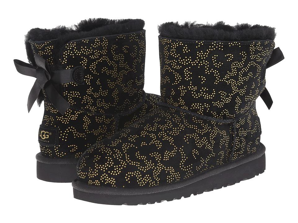 UGG Kids - Mini Bailey Bow Metallic Conifer (Big Kid) (Black) Girls Shoes