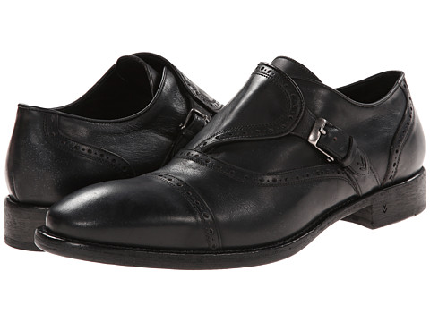 John Varvatos - Fleetwood Brogue Monk (Metal Black) Men's Shoes
