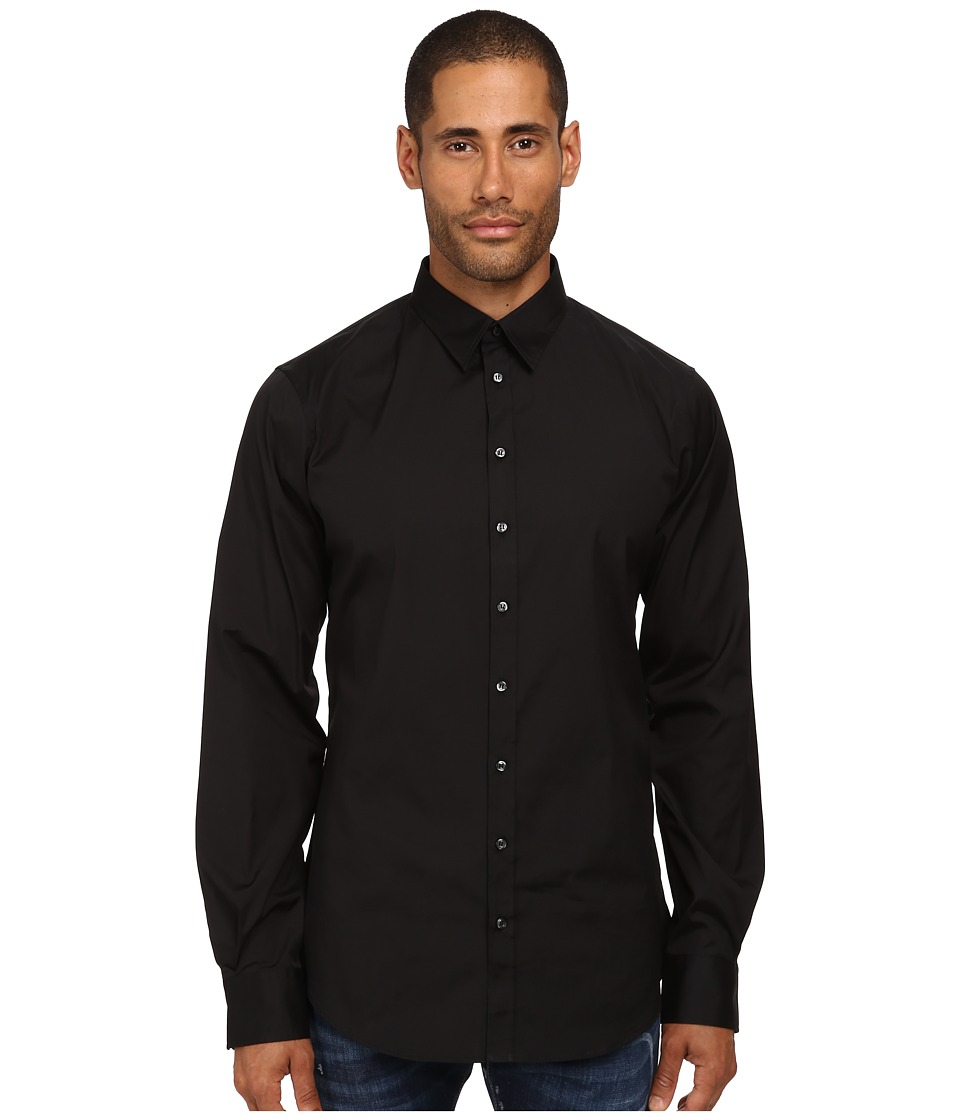 DSQUARED2 - Stretch Poplin Button Up Shirt (Black) Men's Long Sleeve Button Up