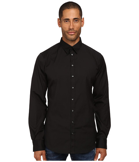DSQUARED2 - Stretch Poplin Button Up Shirt (Black) Men