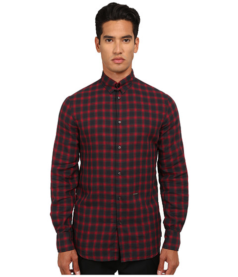 DSQUARED2 - Tab Checks Cotton Button Up Shirt (Dark Grey/Bordeaux) Men