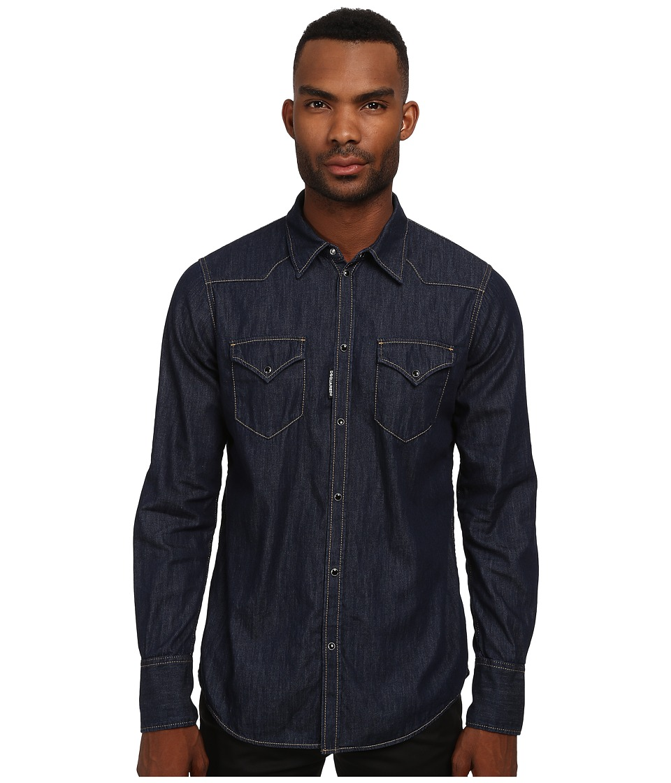 DSQUARED2 - Western Denim Button Up Shirt (Blue) Men's Long Sleeve Button Up