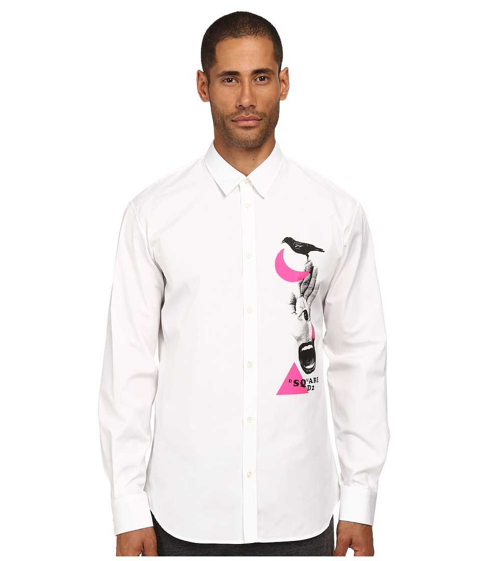 DSQUARED2 - Palm Reader Button Up Shirt (White) Men's Long Sleeve Button Up