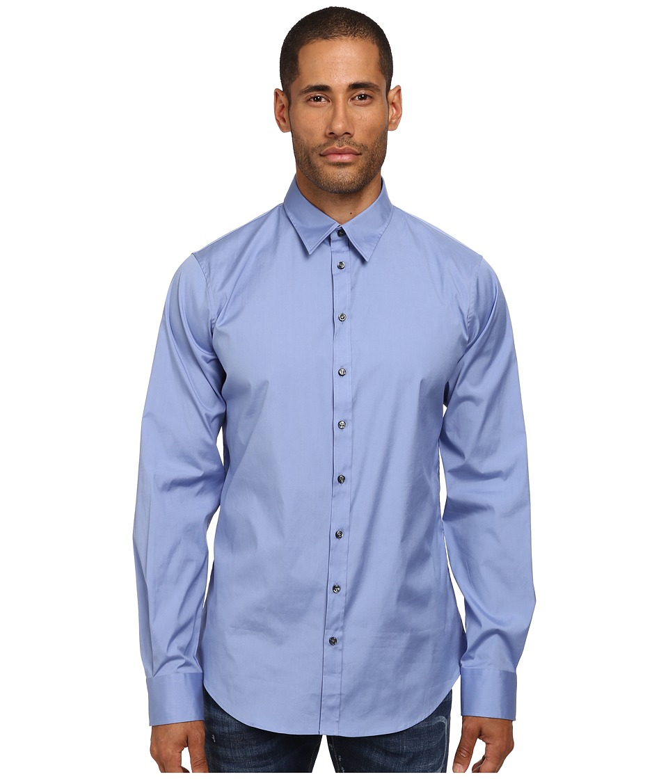 DSQUARED2 - Stretch Poplin Button Up Shirt (Blue) Men's Long Sleeve Button Up