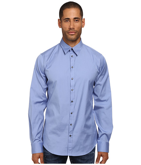 DSQUARED2 - Stretch Poplin Button Up Shirt (Blue) Men