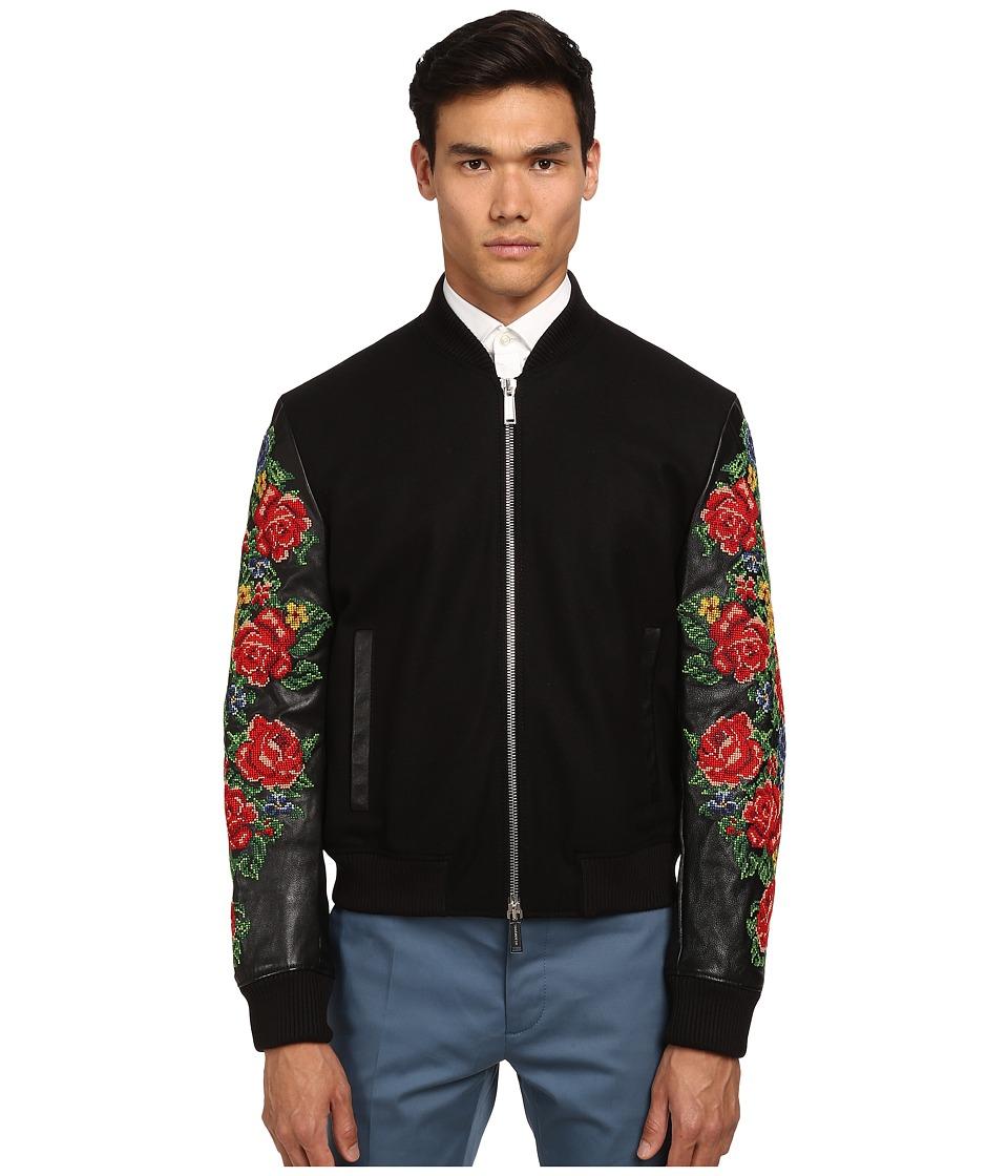 DSQUARED2 - Embroidered Bomber Jacket (Black) Men's Coat
