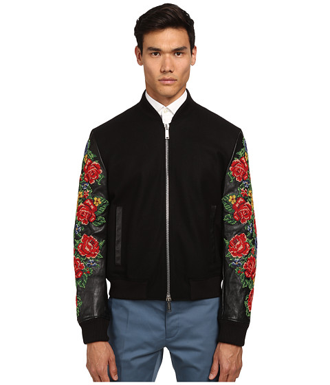 DSQUARED2 - Embroidered Bomber Jacket (Black) Men's Coat