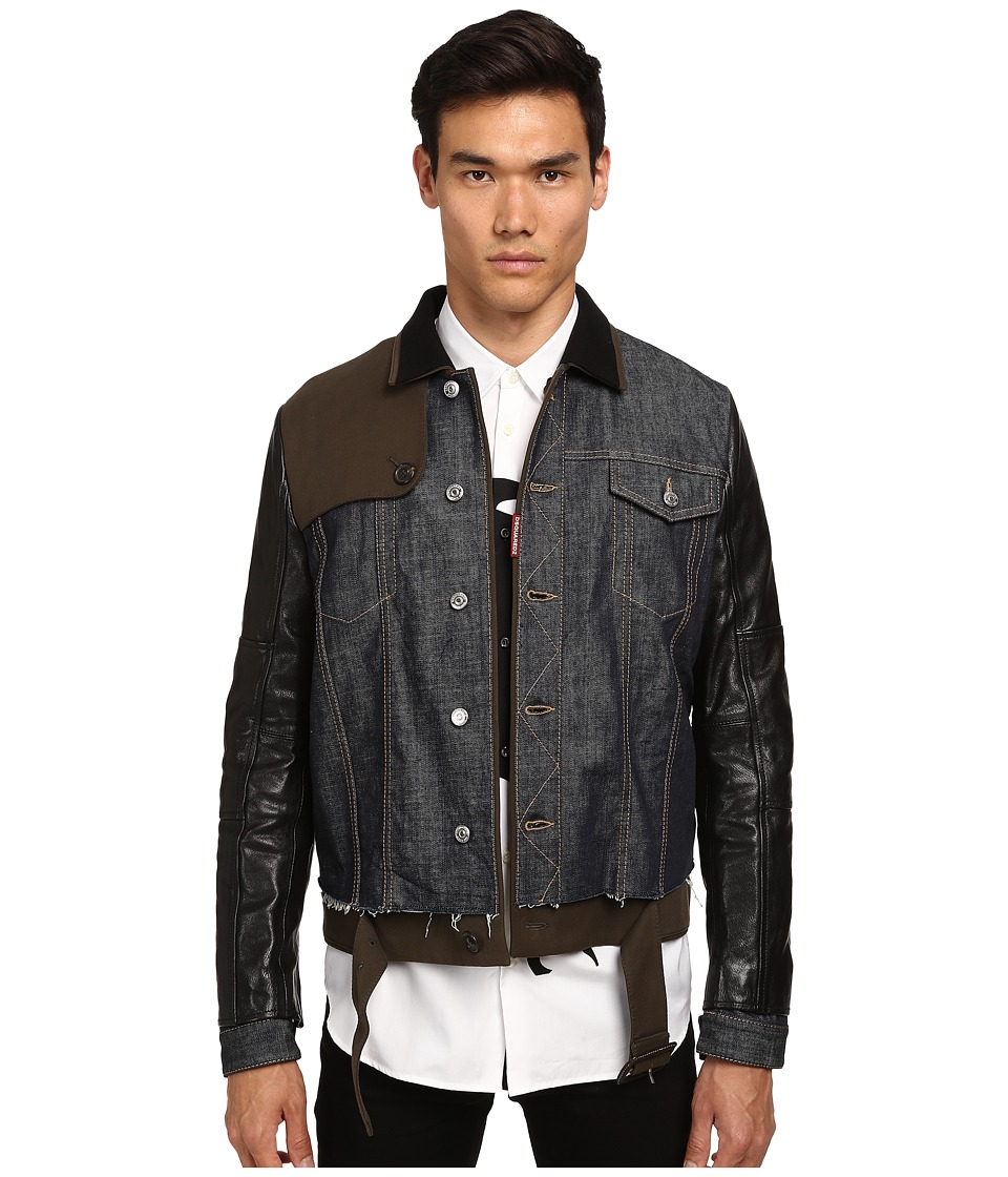 DSQUARED2 - Trench-Biker Jean Jacket (Blue/Green/Black) Men's Coat