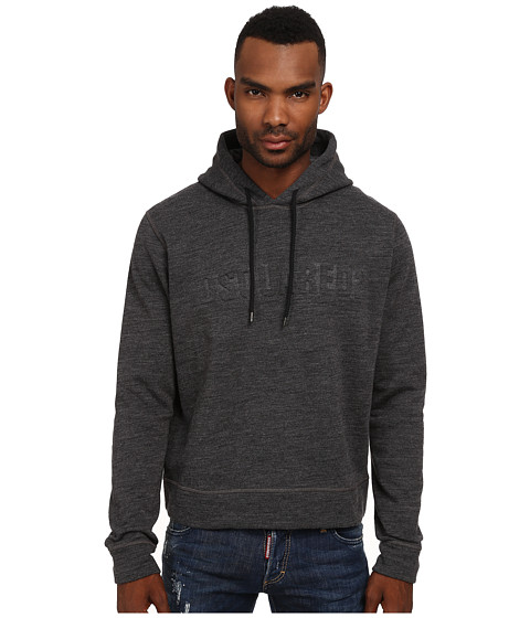 DSQUARED2 - Pumpkin Fit Wool/Cotton Hoodie (Dark Grey Melange) Men's Sweatshirt