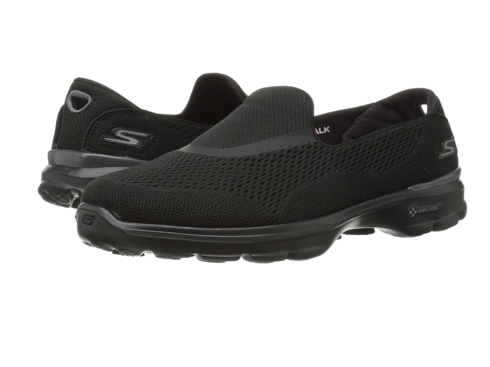 SKECHERS Performance - Go Walk 3 - Strike (Black) Women's Flat Shoes
