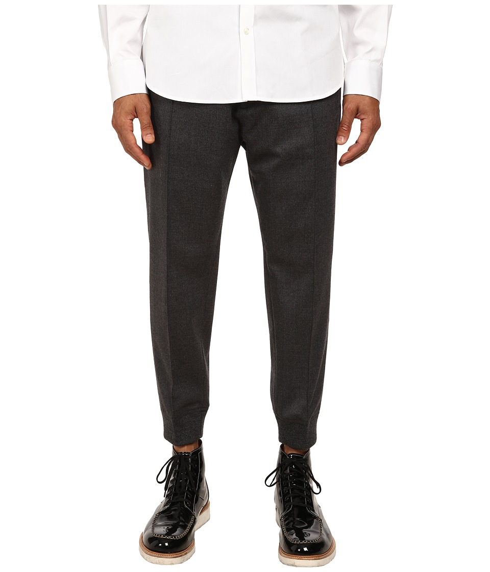 DSQUARED2 - Stretch Wool Flannel Jogging Pants (Dark Grey) Men's Casual Pants