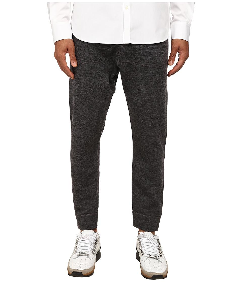 DSQUARED2 - Dean Fit Wool/Cotton Track Pants (Dark Grey Melange) Men's Casual Pants