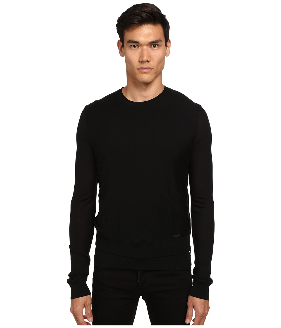DSQUARED2 - Zipper Detail Crew Neck Sweater (Black) Men's Sweatshirt