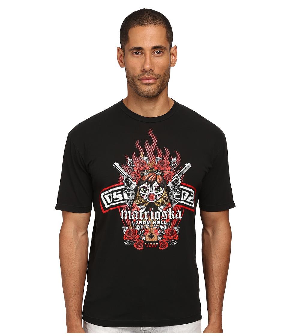 DSQUARED2 - Fade Dyed Dan Fit Tee (Black) Men's T Shirt