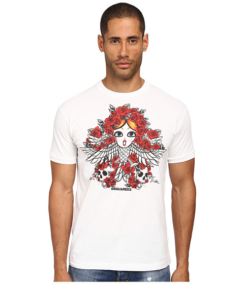 DSQUARED2 - Tarot Card Chic Dan Fit Tee (White) Men