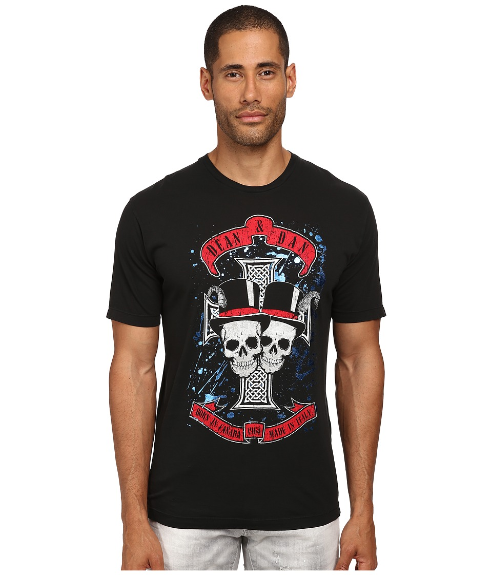 DSQUARED2 - Skull Dan Fit Tee (Black) Men's T Shirt