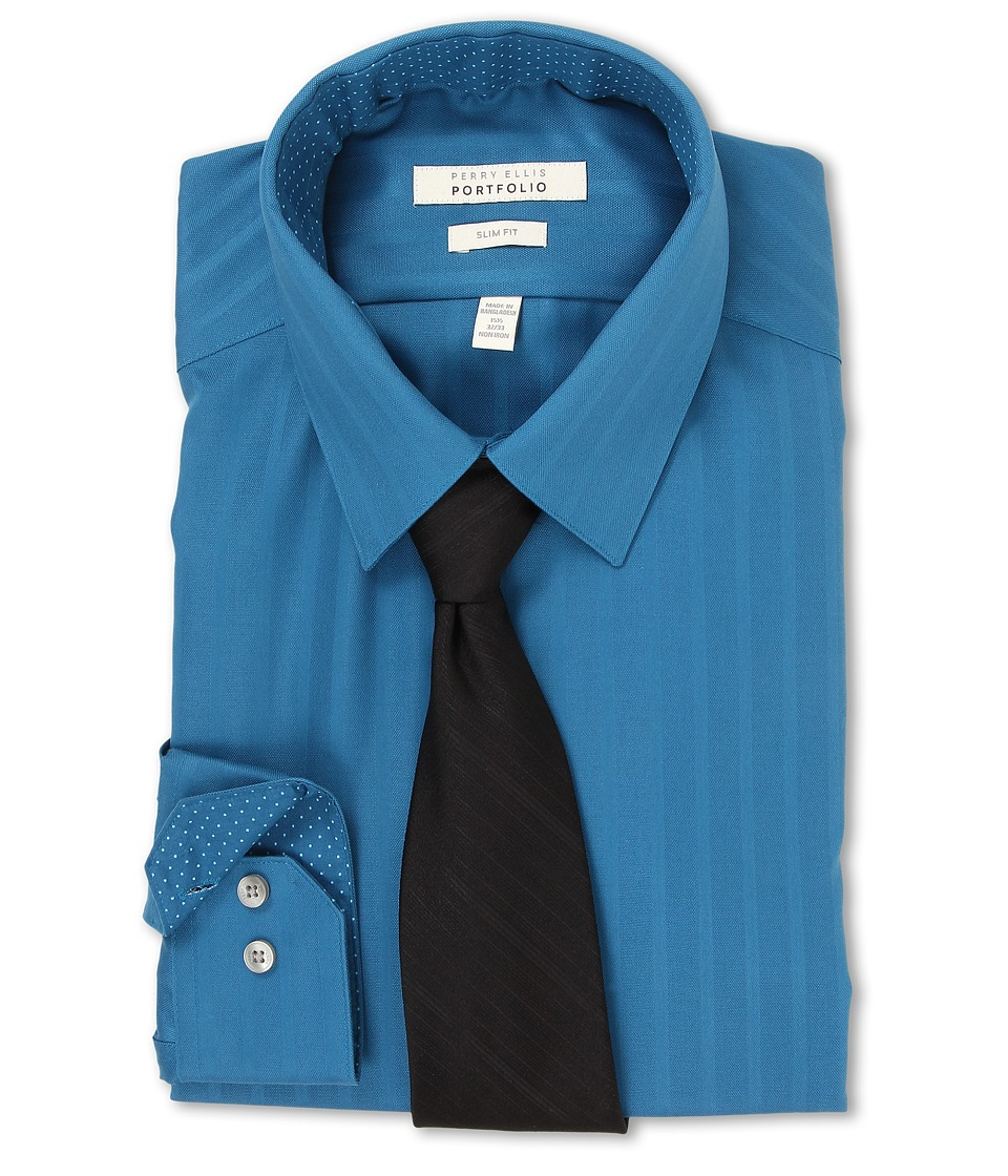 Perry Ellis - Slim Fit Tonal Stripe Dress Shirt (Deep Sea) Men's Long Sleeve Button Up