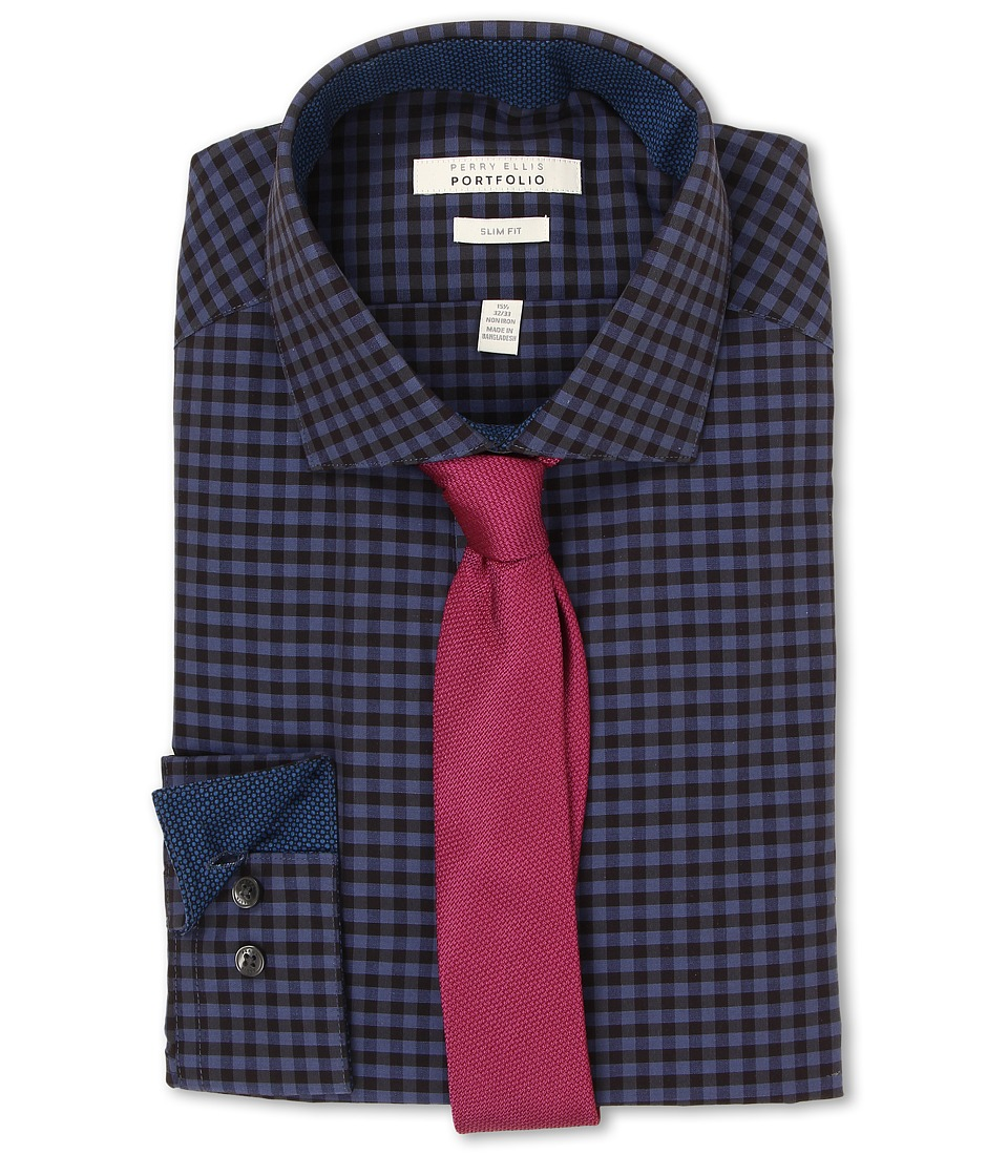 Perry Ellis - Slim Fit Gingham Shirt (Deep Blue) Men