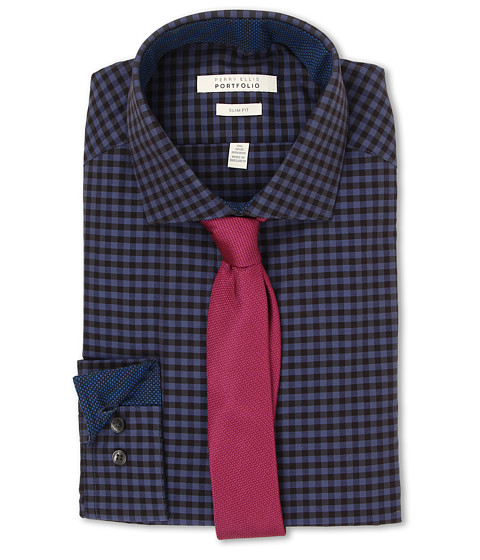 Perry Ellis - Slim Fit Gingham Shirt (Deep Blue) Men's Long Sleeve Button Up