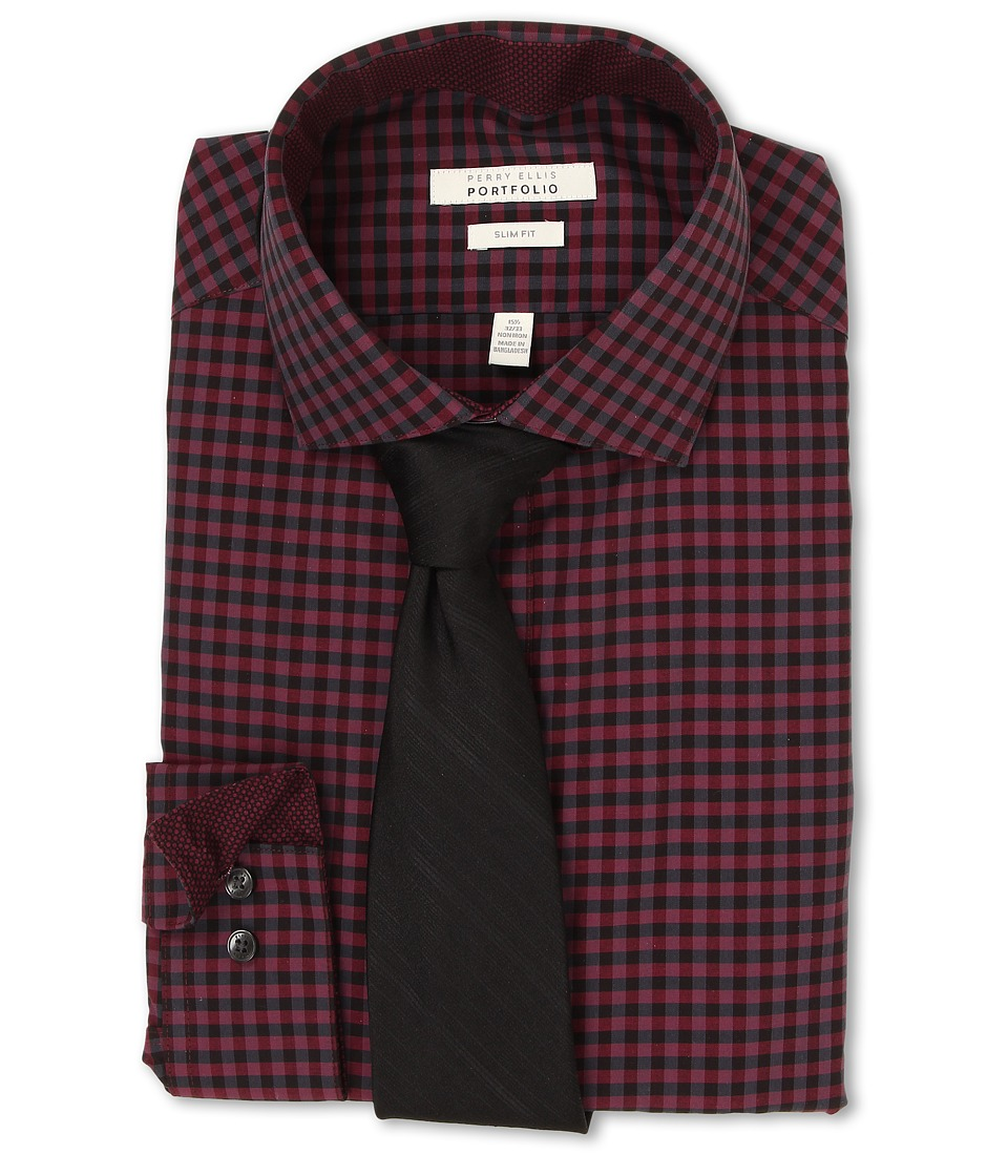 Perry Ellis - Slim Fit Gingham Shirt (Wine) Men