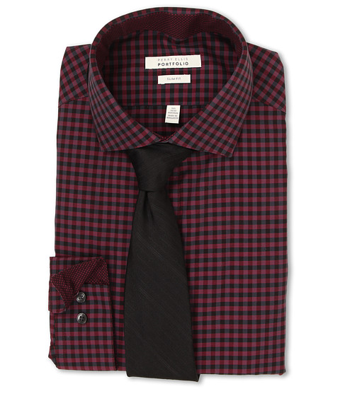 Perry Ellis - Slim Fit Gingham Shirt (Wine) Men's Long Sleeve Button Up