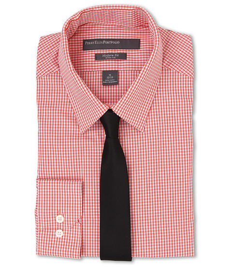 Perry Ellis - Slim Fit Check Shirt (Orange) Men's Long Sleeve Button Up
