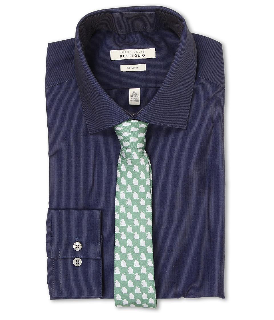 Perry Ellis - Slim Fit Tonal Stripe Shirt (Dark Blue) Men's Long Sleeve Button Up