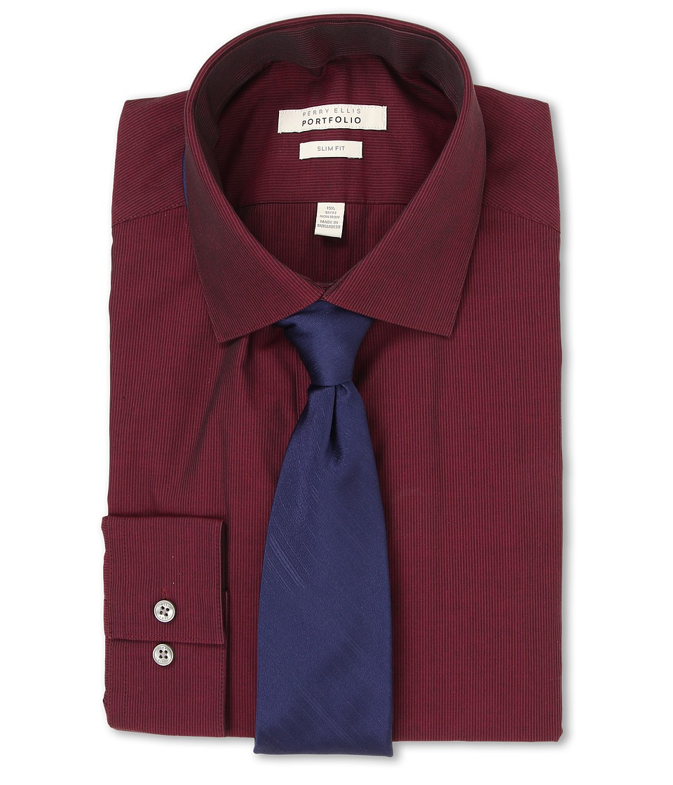 Perry Ellis - Slim Fit Tonal Stripe Shirt (Burgundy) Men's Long Sleeve Button Up