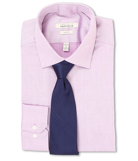 Perry Ellis - Slim Fit Solid Shirt (Lilac) Men's Long Sleeve Button Up