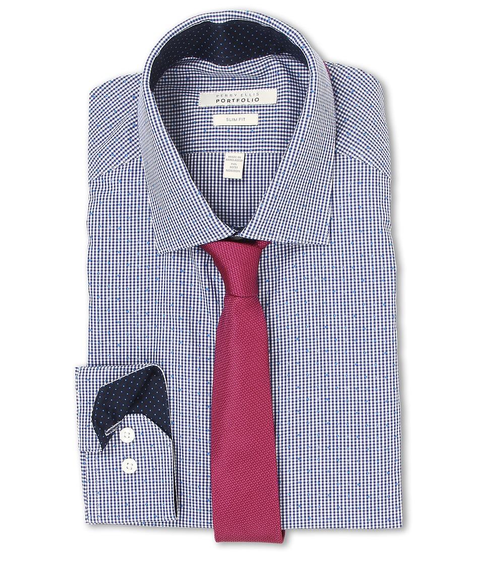Perry Ellis - Slim Fit Print Check Shirt (Navy) Men