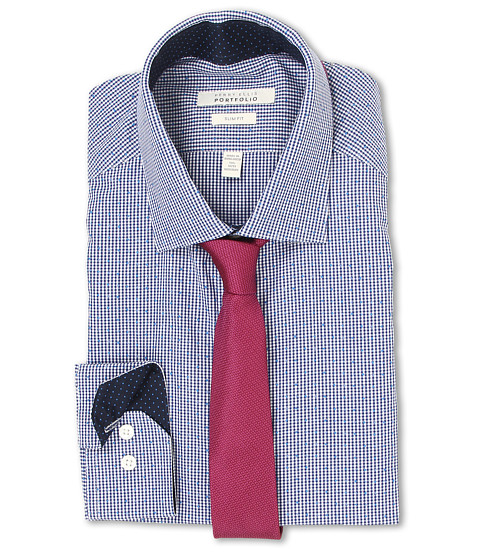 Perry Ellis - Slim Fit Print Check Shirt (Navy) Men