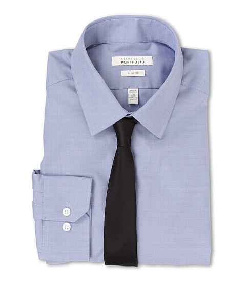Perry Ellis - Slim Fit Wrinkle Free Unsolid Solid L/S Dress Shirt (Blue Frost) Men's Dress